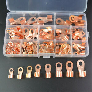 90pcs Copper Battery Cable Connector Terminal Open Lugs Wire Terminals Boxed Kit