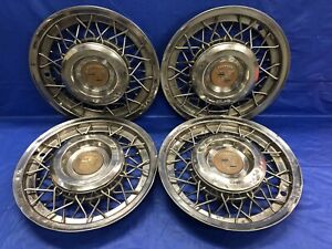 Vintage Set Of 4 195355 Cadillac Wire 15 Hubcaps