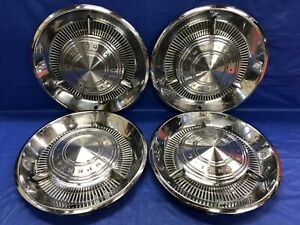 Vintage Set Of 4 1960 Chrysler Imperial 15 Hubcaps With Spinners