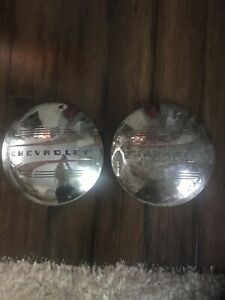 Set Of 2 Vintage Chevrolet Baby Moon Dog Dish Hubcaps