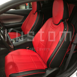For 10 15 Camaro Coupe Custom Fit Red Black Waterproof Leather Seat Covers