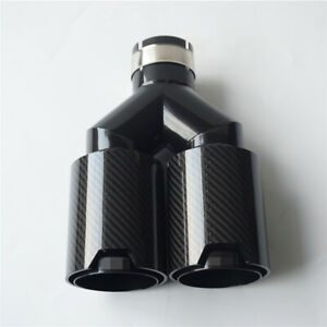 Real Carbon Fiber Car Exhaust Dual Twin End Tips Muffler Tips 63mm In 89mm Out
