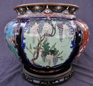 Fine Antique Nouveau Meiji Cloisonne Lobed Six Panel Large Vase 11 3 4 Wide