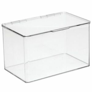 Mdesign Plastic Desk Organizer Bin Box For Home Office 4 Pack Clear