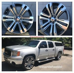 24 Gmc Wheels Tires Chevy Grey Machine Silverado Yukon Denali Suburban T p m s