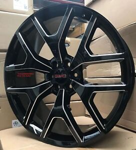 22 Sierra Wheels With Tires Black Milled Gmc Silverado Yukon Denali Suburban