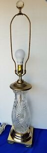 Vintage Signed Dresden Clear Cut Polished Crystal Table Lamp Brass Base