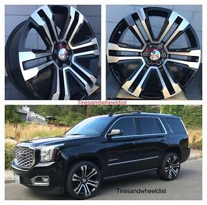 22 Inch Wheels Tires Chevy Tahoe Black Machine Gmc Silverado Yukon Denali Rims