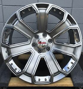 24 Gmc Yukon Denali Silver Wheels Tires Silverado Sierra Tahoe Chevy New Rims