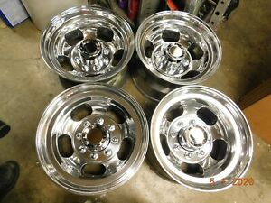 Set Polished 8 lug 16 5 X 9 75 Slot Mag Wheels Ford Chevy Dodge 4x4 Gmc Truck