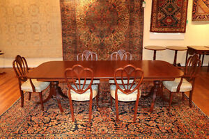 Awesome 1940 S Solid Mahogany Dining Room Set 6 Chairs 2 Leaves