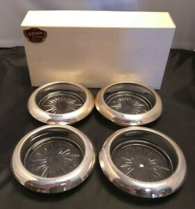 Frank M Whiting 4 Vintage Sterling Silver Pressed Glass Wine Bottle Coasters
