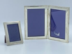 2 Vintage Sterling Silver Wood Back Photo Photograph Picture Frames Set Ss