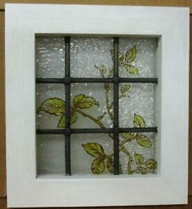 Victorian English Leaded Stained Glass Window Tiny Hand Painted 11 25 X 12 25