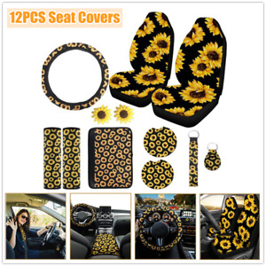 12pcs Sunflower Seat Covers Steering Wheel Cover Seat Belt Armrest Pad Key Chain