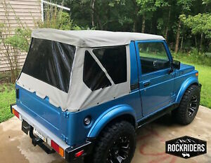 1986 1994 Suzuki Samurai Replacement Soft Top With Zip Out Tinted Windows Gray