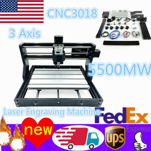 Mini Cnc 3018pro Wood Router Milling 3 Axis Engraving Machine 5500mw Laser er11