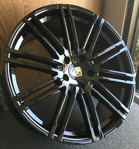 22 Inch Wheels Turbo Tires Gloss Black Porsche Panamera Staggered 22x10 22x11