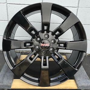 24 Gmc Sierra Yukon Gloss Black Wheels Tires Chevy Tahoe Silverado With Tires