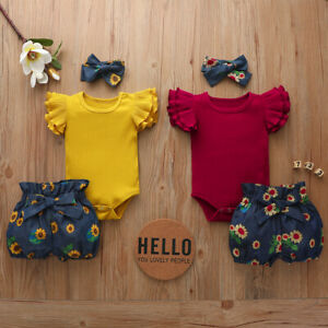 Newborn Baby Girl Floral Outfit 3PCS Set Romper Jumpsuit Shorts Headband Clothes $14.69