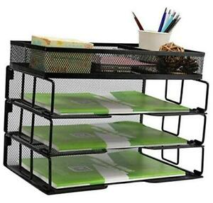 Reliatronic Mesh Office Desk Organizer Stackable File Letter Tray Organizer Wit