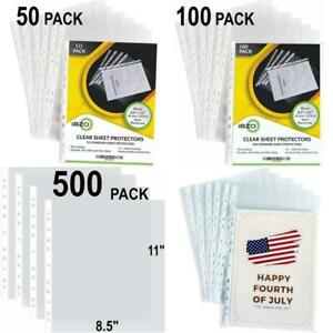 50 100 500 Pack Clear Binder Sheet Protectors 8 5 X 11 Inch Plastic Sleeves