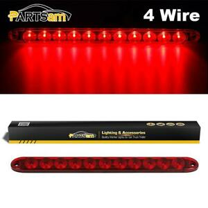 15 Inch 4 Wires Submersible Red 11led Stop Brake Tail Turn Marker Light Bar