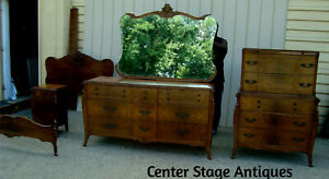 60291 Antique Bedroom Set Full Bed High Chest Dresser W Mirror