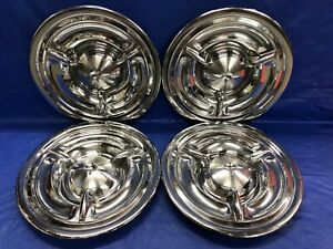Vintage Set Of 4 1957 Oldsmobile 14 Spinner Hubcaps 88 89 Fiesta