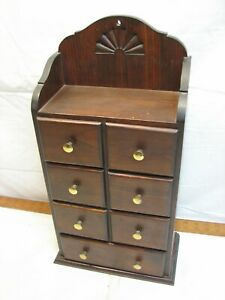 Wooden Wall Hanging Cabinet Vanity Spice Drawers Cupboard Home Decor