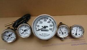 Willys Mb Jeep Ford Gpw Cj Speedometer Temp Oil Fuel Amp Gauges White Face