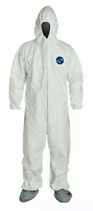 Dupont Tyvek 1 Suit Ty122s Coverall With Hood booties White Size Medium