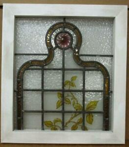 Victorian English Leaded Stained Glass Window Hand Painted Vines 18 5 X 20 25