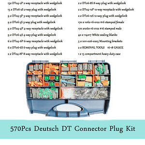 Us 570 Pcs Gray Deutsch Dt Connector Kit Stamped Contacts Removal Tools