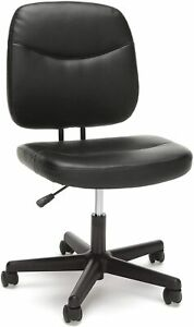 Executive Swivel Armless Leather Desk Chair In Black