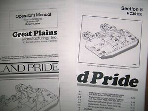 Land Pride Parts Operator Manuals For Rc35120 Rotary Cutter 35 Series 120