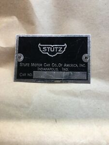 Stutz Motor Car Co Data Plate Unstamped