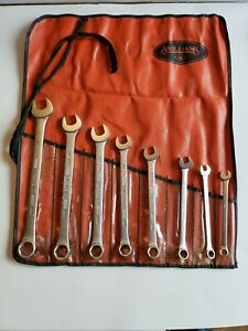 Vintage Williams Superrench 8 Piece Combination Wrench Set 6 Pt Original Pouch