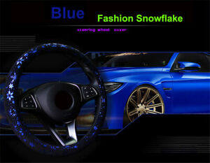Purple Pu Leather Car Suv Steering Wheel Cover Snowflake Style Comfortable Grip