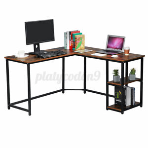 L shaped Corner Desk Computer Gaming Laptop Pc Table Office Home Workstation Us