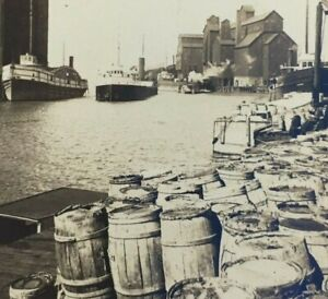 Buffalo NY Erie Canal and Lake Eric Commercial Steamers Dock View Vintage $29.95