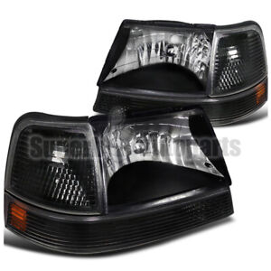 For 1998 2000 Ford Ranger Headlights Black W turn Signal Corner Parking Lights