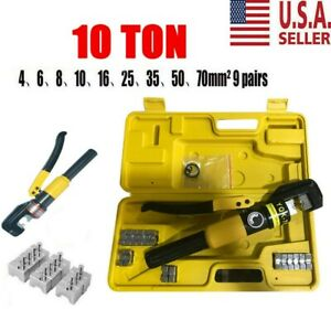 Hydraulic Wire Battery Cable Lug Terminal Crimper Crimping Tool 10 Ton Usa