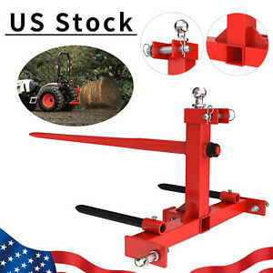 3 Point Hay Bale Spear Trailer Hitch Receiver Cat 1 Tractor W Gooseneck Ball