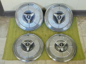 1965 Plymouth Spinner Hub Caps 14 Set Of 4 Mopar Wheel Covers 65 Hubcaps