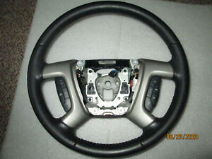 2007 2014 Chevrolet Silverado Gmc Sierra Black Leather Steering Wheel Oem