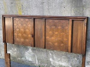 Mid Century Modern Geometric Hexagon Queen Full Sized Bed Headboard
