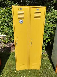 Yellow Locker Bank Of 2 Many Shelves 15 D X 30 W X 72 H Good Pre Owed Cond