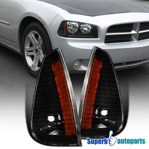 For 2006 2010 Dodge Charger Black Signal Corner Lights Parking Side Maker Lamps