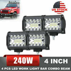 4pcs 4 Inch 12v 1200w Led Work Light Bar Flood Pods Driving Off Road Tractor 4wd